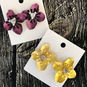 H&M Earrings Flowers Purple Yellow Statement